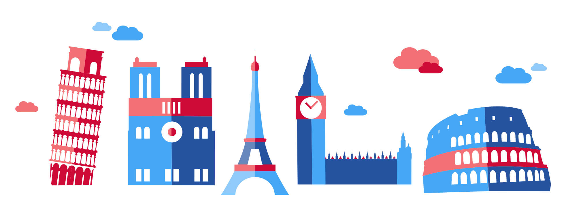 Leaning tower of Pisa, Notre Dame, Eiffel Tower, Big Ben and Roman Collesium